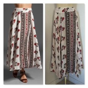 Free People Red Roses Size S Maxi Wrap Skirt